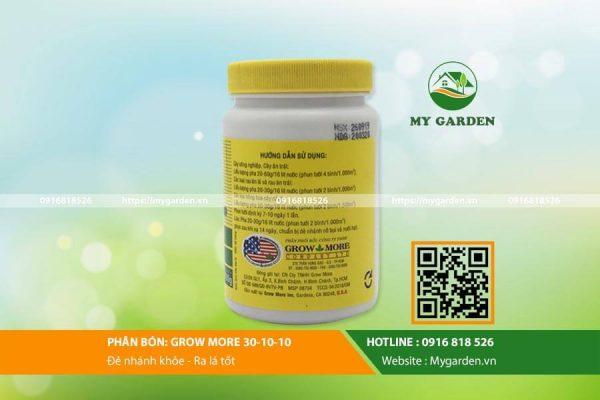 Grow More 30-10-10 mang đến dưỡng chất đầy đủ cho cây trồng