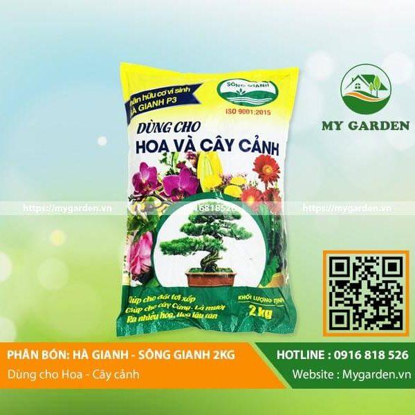 Phân bón hữu cơ vi sinh Hà Gianh 2kg cho hoa cây cảnh