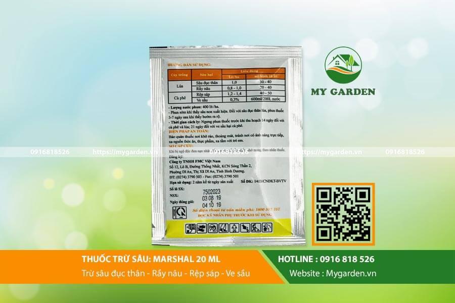 Lưu ý khi dùng sản phẩm thuốc trừ sâu Marshal cho cây trồng