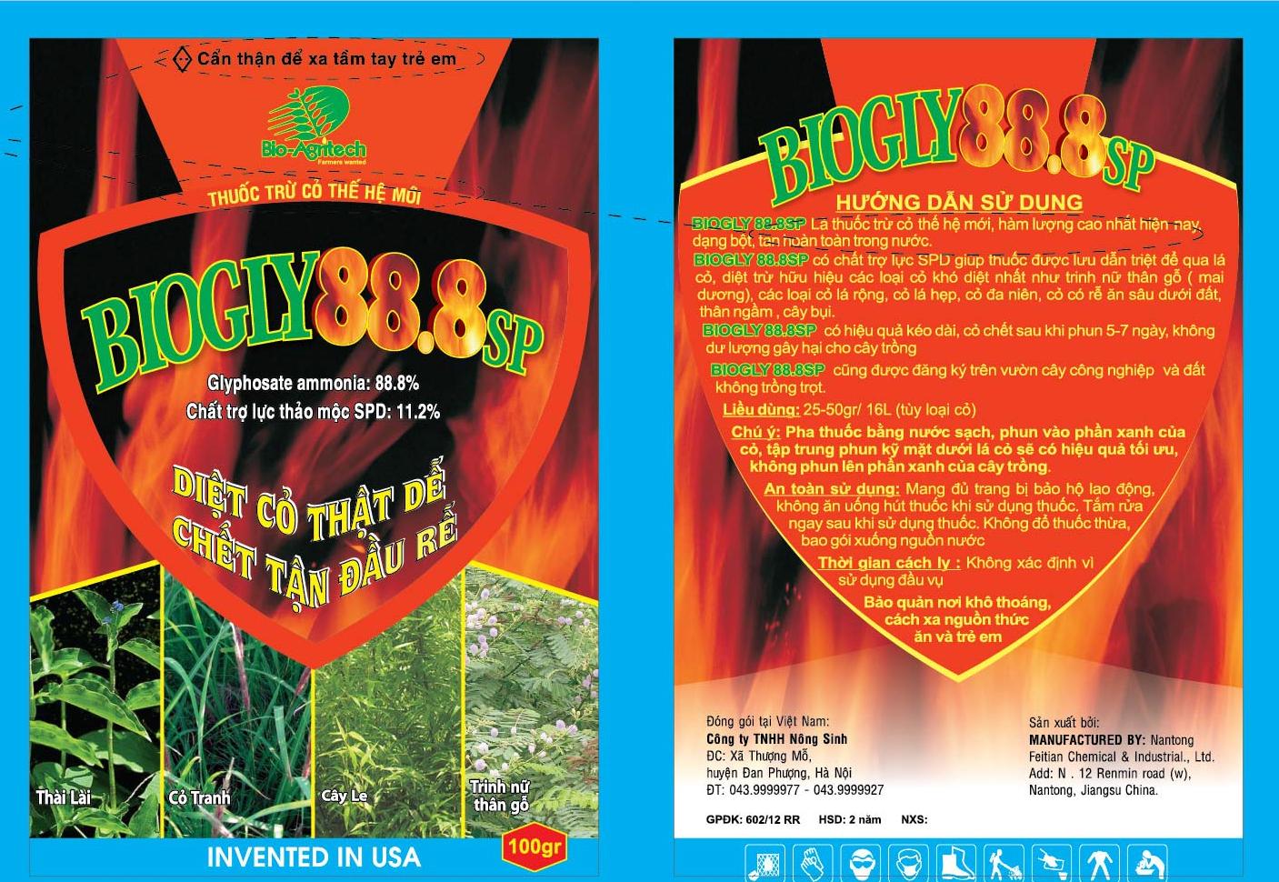 Diệt cỏ thế hệ mới thuốc BIOGLY 88.8 SP